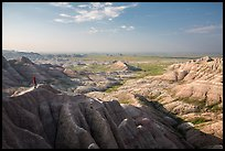 Park visitor looking, Panorama Point. Badlands National Park ( color)