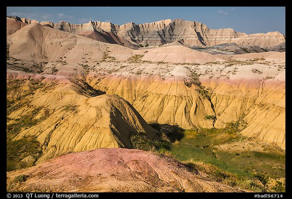 Badlands with yellow and red soils. Badlands National Park (color)
