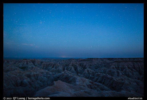 Badlands from above at night. Badlands National Park (color)