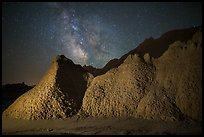 Badlands and Milky Way. Badlands National Park, South Dakota, USA.