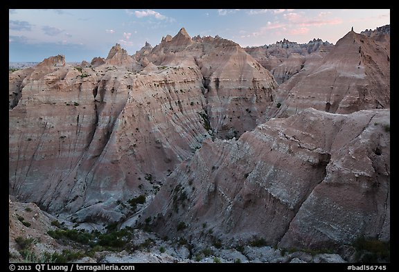 Peaks and canyons of the Wall near Norbeck Pass. Badlands National Park (color)