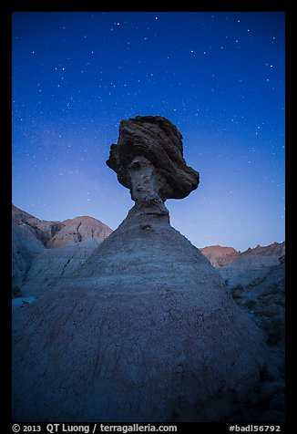 Pedestal rock at badlands at night. Badlands National Park (color)