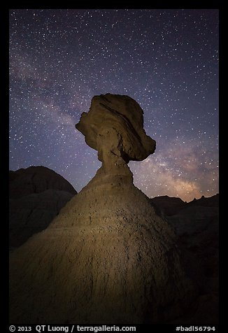 Balanced rock at night with starry sky and Milky Way. Badlands National Park (color)