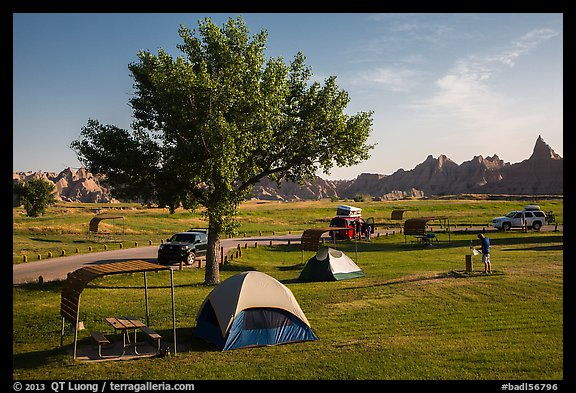 Campground and badlands. Badlands National Park (color)