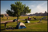 Campground and badlands. Badlands National Park, South Dakota, USA. (color)