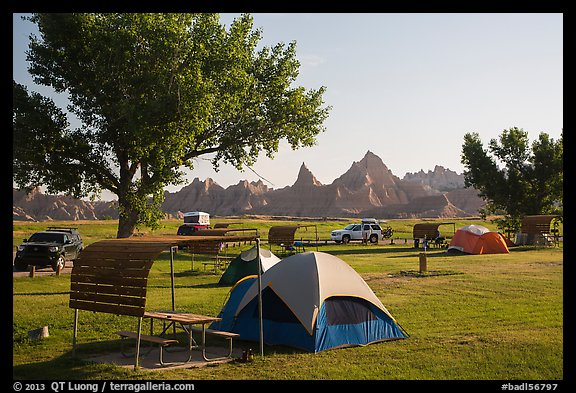 Tent camping. Badlands National Park, South Dakota, USA.