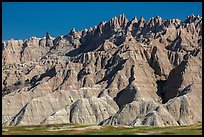The Wall raising above prairie. Badlands National Park, South Dakota, USA. (color)