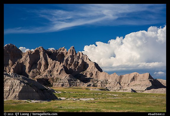 Badlands and afternoon clouds, Stronghold Unit. Badlands National Park (color)