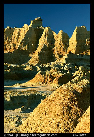 Erosion landforms at Cedar Pass, early morning. Badlands National Park (color)