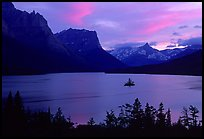 St Mary Lake and Wild Goose Island, sunset. Glacier National Park, Montana, USA. (color)