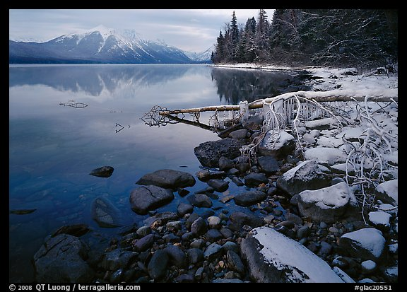 Snowy shoreline of Lake Mc Donald in winter. Glacier National Park (color)
