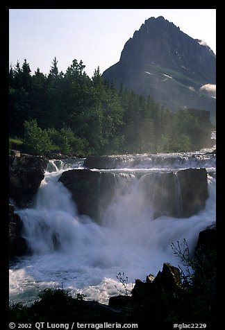 Waterfall in Many Glaciers area. Glacier National Park (color)