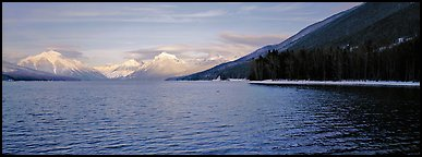 Snowy mountains across Mc Donald Lake. Glacier National Park (Panoramic color)