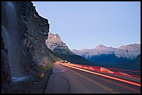 Roadside waterfall and light trail, Going-to-the-Sun road. Glacier National Park ( color)