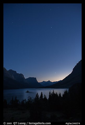Stary sky above St Mary Lake. Glacier National Park (color)
