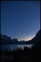 Stary sky above St Mary Lake. Glacier National Park, Montana, USA.