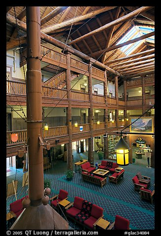 Main lobby of Many Glacier Lodge. Glacier National Park (color)