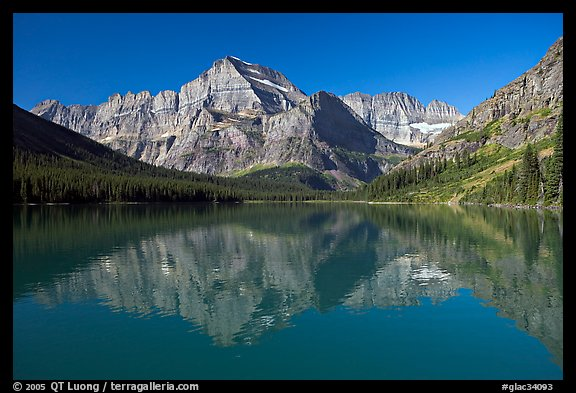 Lake Josephine and Mt Gould, morning. Glacier National Park (color)