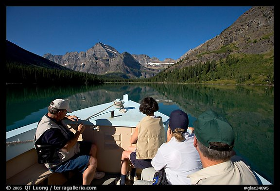 Riding the tour boat on Lake Josephine. Glacier National Park (color)