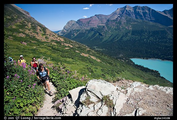 Women hiking on the Grinnell Glacier trail. Glacier National Park (color)