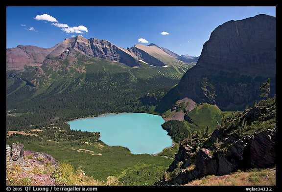 Grinnell Lake, Angel Wing, and Allen Mountain, afternoon. Glacier National Park (color)