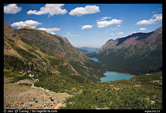Many Glacier Valley with Grinnell Lake and Josephine Lake. Glacier National Park (color)