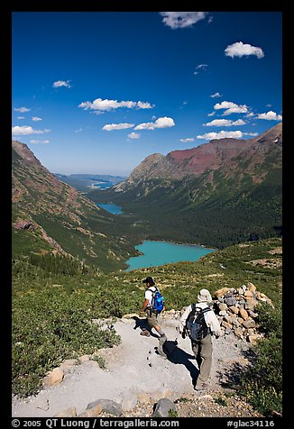 Switchback on trail, with Grinnel Lake and Josephine Lake in the background. Glacier National Park (color)