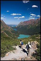 Switchback on trail, with Grinnel Lake and Josephine Lake in the background. Glacier National Park ( color)