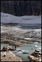 Crossing the outlet stream of the Grinnell glacial lake. Glacier National Park ( color)