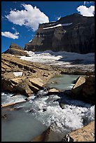 Stream, Mt Gould, and Grinnell Glacier, afternoon. Glacier National Park, Montana, USA.