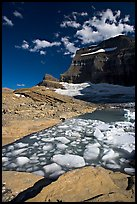 Icebergs in Upper Grinnel Lake, with glacier and Mt Gould in background. Glacier National Park ( color)