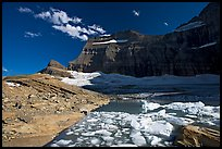 Upper Grinnell Lake with icebergs, late afternoon. Glacier National Park, Montana, USA.