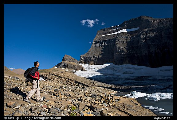 Hiker on moraine near Grinnell Glacier. Glacier National Park (color)