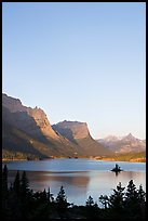 St Mary Lake and Wild Goose Island at sunrise. Glacier National Park, Montana, USA. (color)