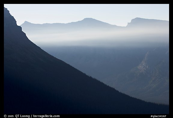 Ridge and light seen from Logan Pass. Glacier National Park (color)