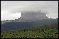 Chief Mountain, with top in the clouds. Glacier National Park ( color)