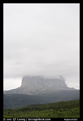 Cloud-covered Chief Mountain. Glacier National Park (color)