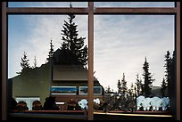 Firs and peak, Logan Pass visitor center window reflexion. Glacier National Park ( color)