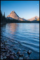 Two Medicine lakeshore with Sinopah Mountain and moon. Glacier National Park ( color)