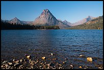Shoreline and mountains, Two Medicine Lake. Glacier National Park ( color)