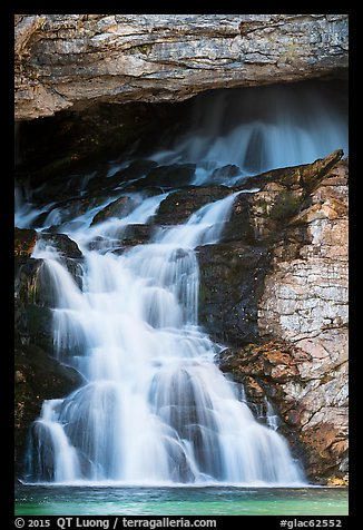 Lower Running Eagle Falls in autumn. Glacier National Park (color)
