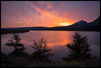 Colorful sunrise over Saint Mary Lake. Glacier National Park ( color)