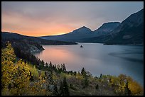 Saint Mary Lake and Wild Goose Island, autumn sunrise. Glacier National Park ( color)