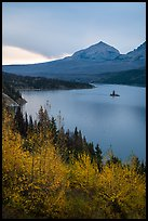 Saint Mary Lake and Wild Goose Island in autumn. Glacier National Park ( color)