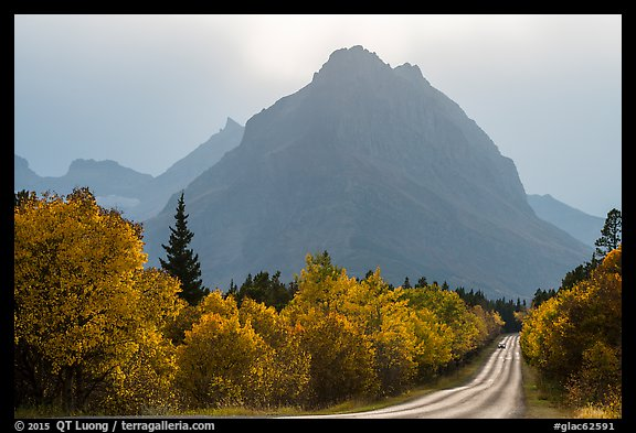 Road, forest in autum foliage, and park, Many Glacier. Glacier National Park (color)