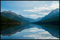 Mountains and clouds with reflections, Bowman Lake. Glacier National Park ( color)
