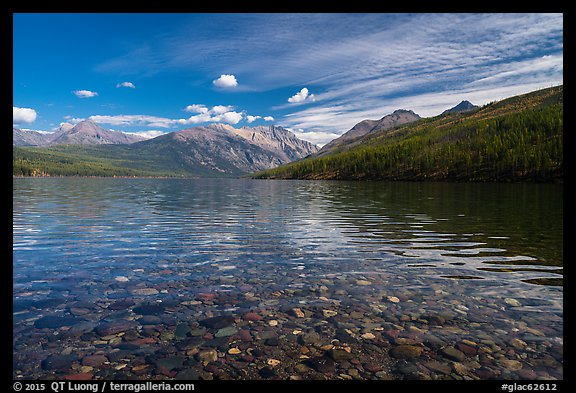Kintla Lake with underwater colorful cobblestones. Glacier National Park (color)