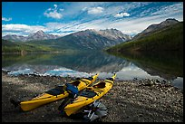 Kayaks on shore, Kintla Lake. Glacier National Park ( color)