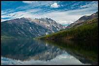 Mountains reflected in Kintla Lake. Glacier National Park ( color)