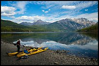 Kayaker readying gear, Kintla Lake. Glacier National Park ( color)